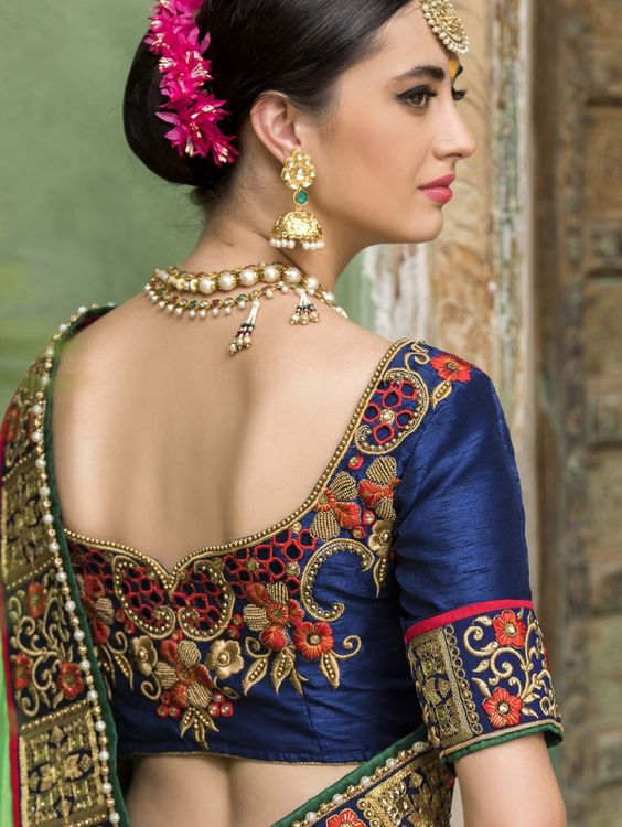 Royal blue maggam designer blouse