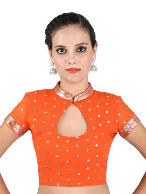 Tangerine embroidery collar blouse design