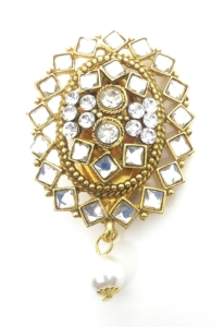 Gold tone and stones with pearl drop saree brooch