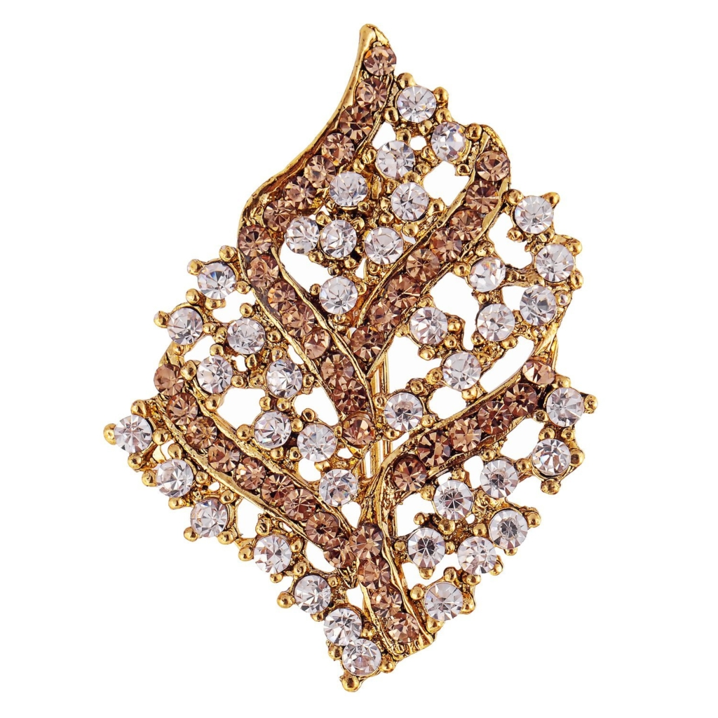 White and Gold Abstract Saree Brooch