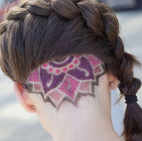 Colored Undercut with French Braid