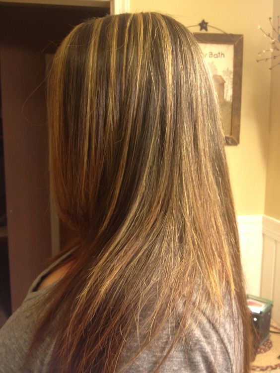 Honey Lowlights on Golden Brown Sleek Hair