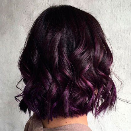 Wavy Black Bob with Violet Balayage