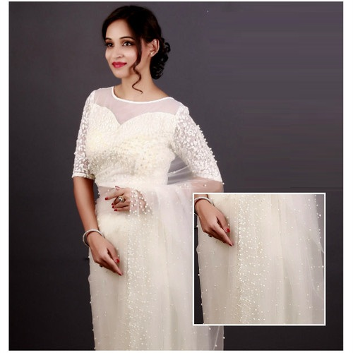 Blouses with net fabric with thread and pearl patch work design