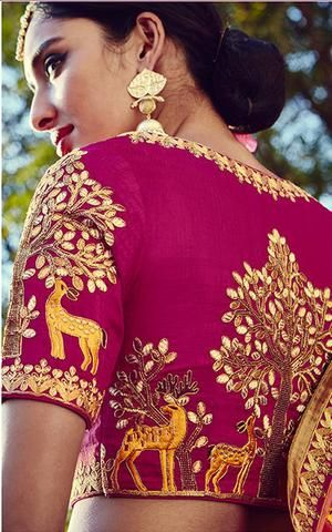 Pink heritage maggam blouse design