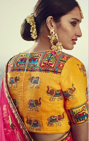 Yellow silk traditional maggam blouse