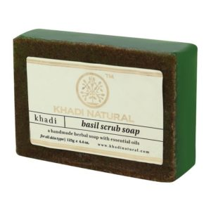 Khadi Natural Basil Scrub Soap