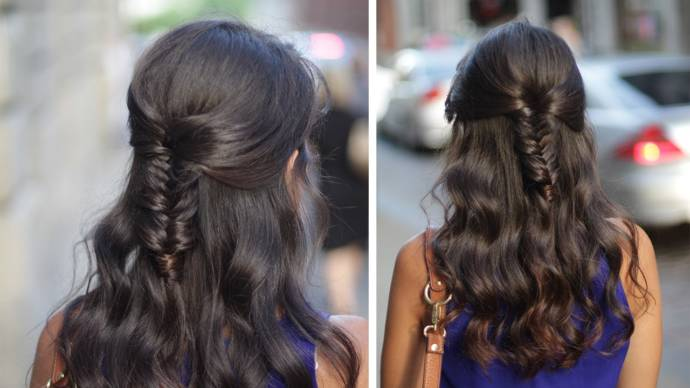 Fishtail braid half up hairstyle