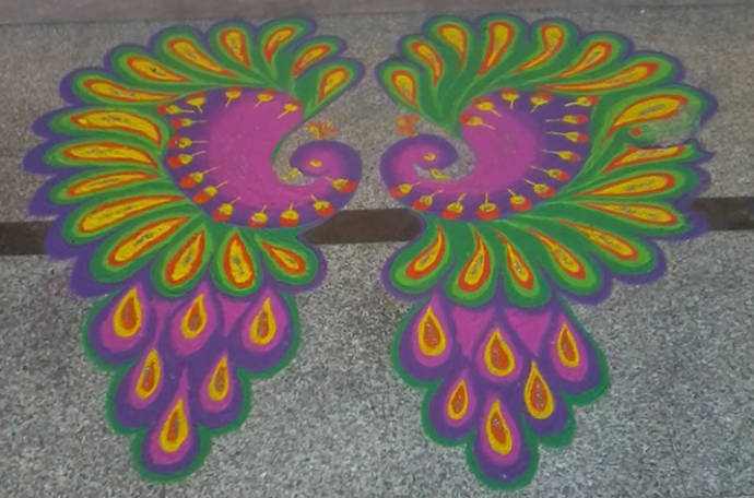 Freehand-two-peacock-rangoli-designs-for-diwali-4.1