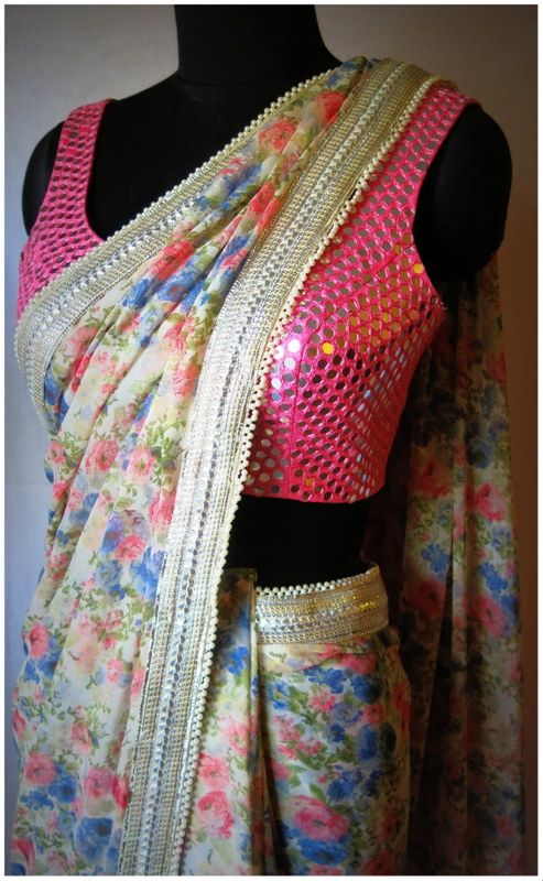 All over mirror worked sleeveless blouse design