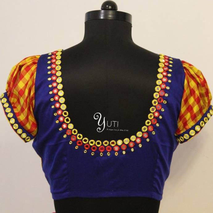 Allover mirror work blouse design in two colors