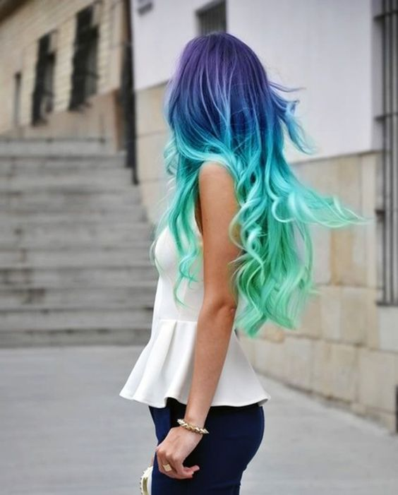 Blue and green balyage hair