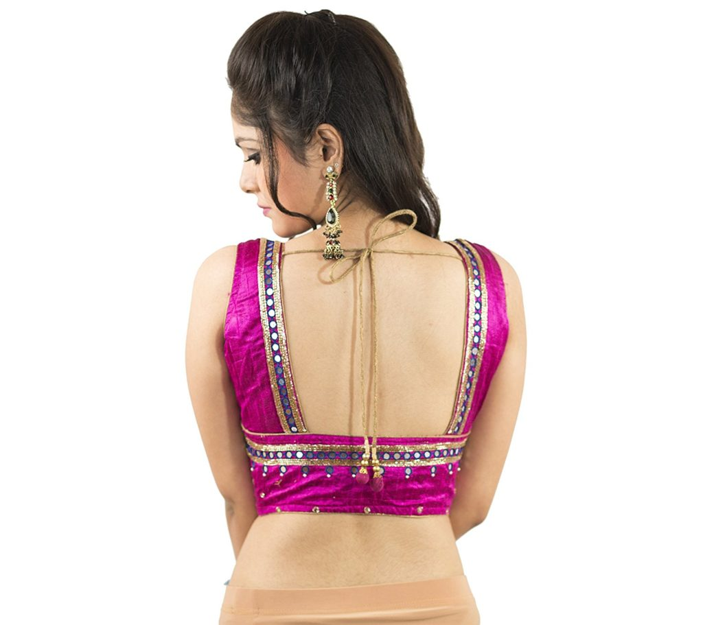 Border highlighting mirror work blouse design for women