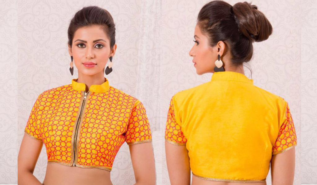 Bright yellow color front zip blouse