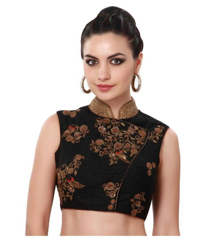 Chinese collar coat style blouse design with detailed zari work