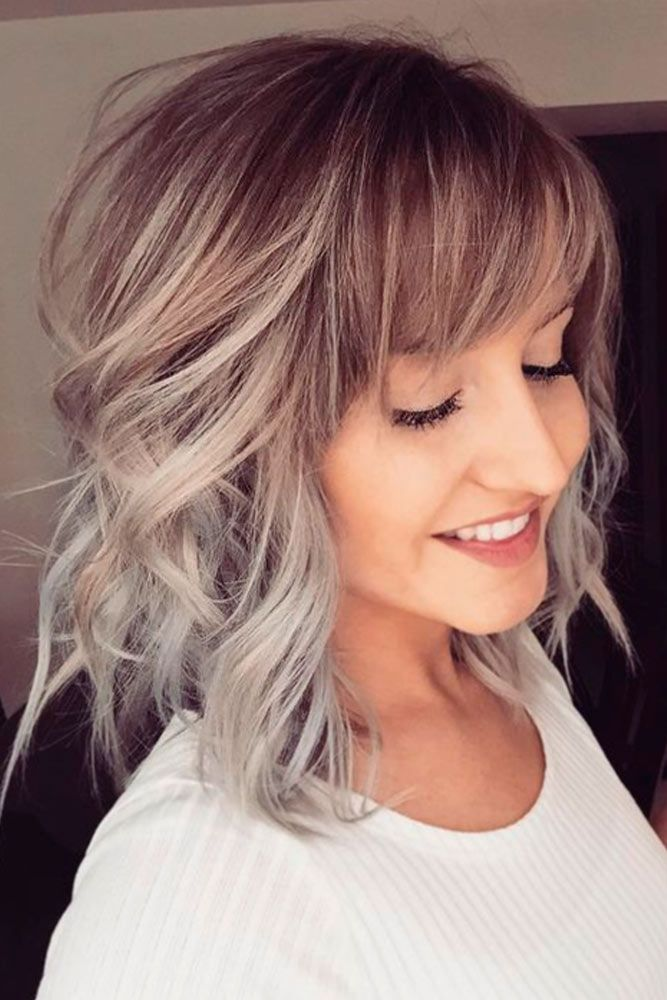 Front bang haircut with gray color hair