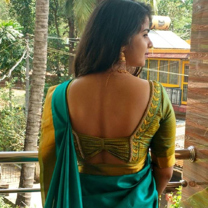 Green and Gold Shimmer Square Design Blouse
