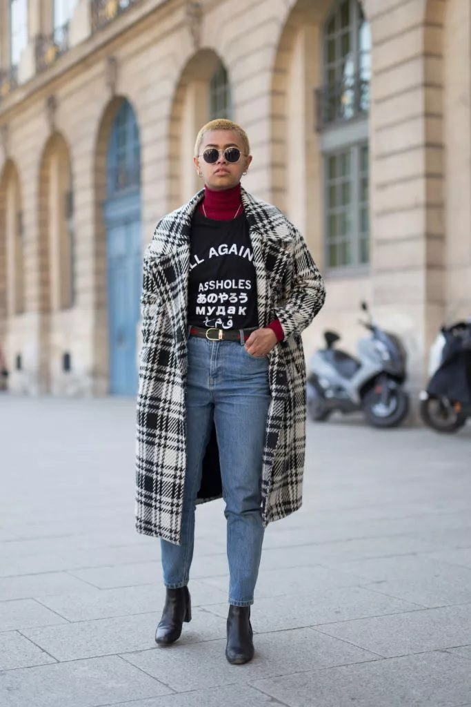 Jeans with the plaid coat