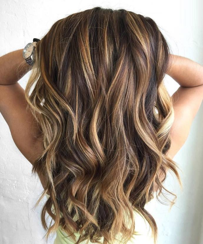 Long Hairstyles With Highlights Lowlights Of Light Brown Black Color