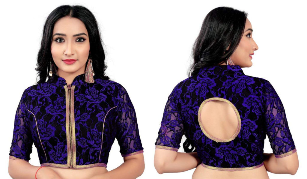 Net blouse with front zip