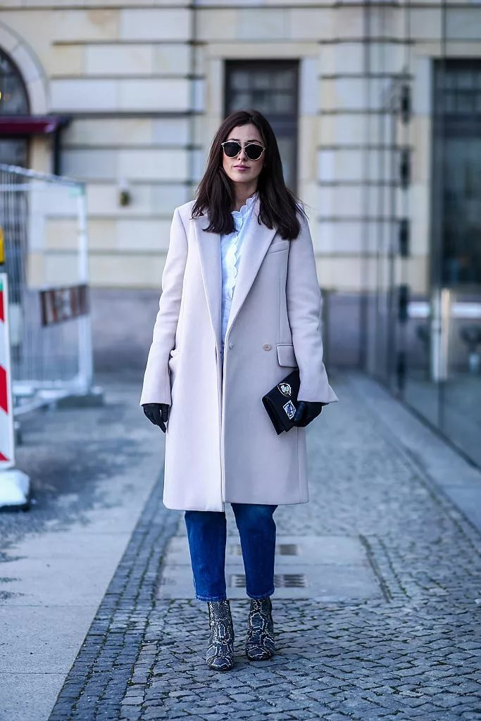 Pastel coat with jeans