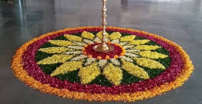 Petals used to make floral-shaped rangoli