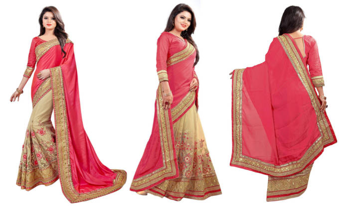 Pink and beige color saree