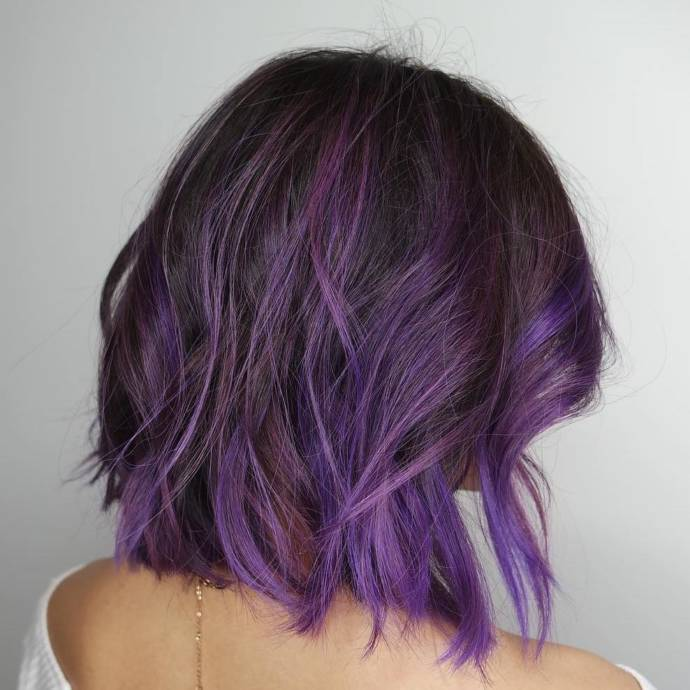 Plum highlights for short length haircut for your square face shape