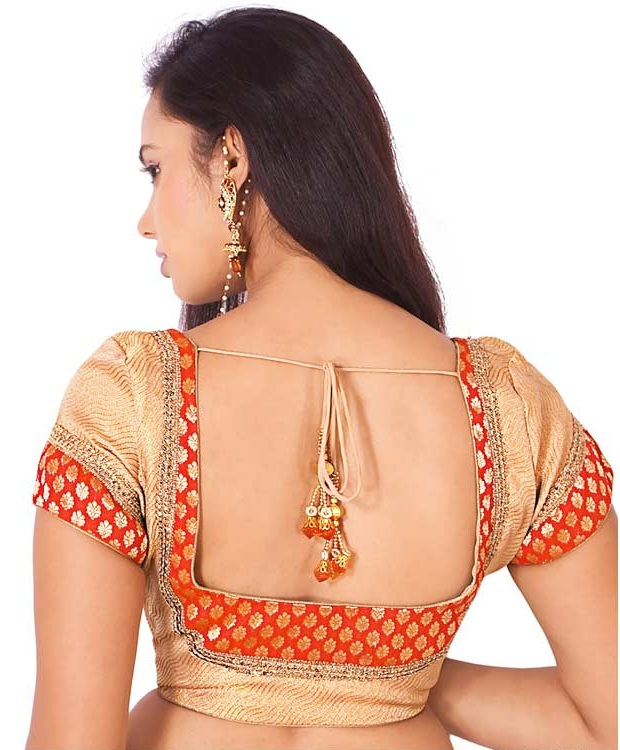 Red and Gold Zari Weave Square Neck Design Blouse