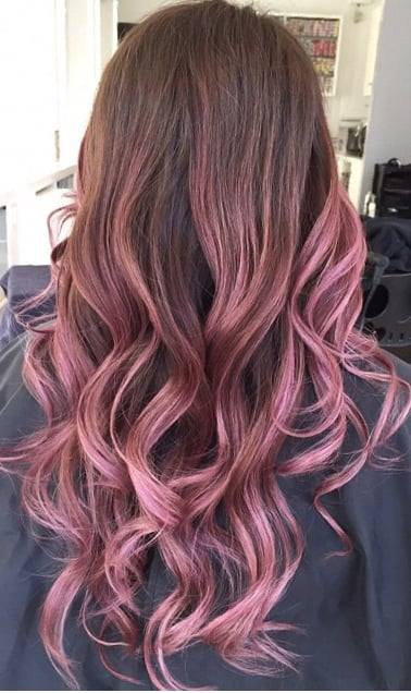 Rose gold balyage hair