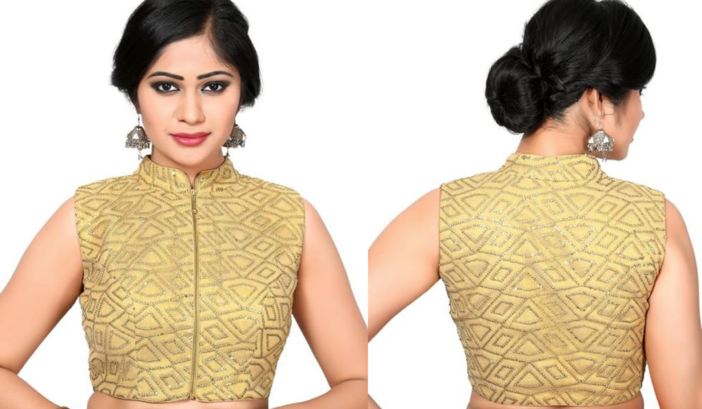 Stone work front zip blouse