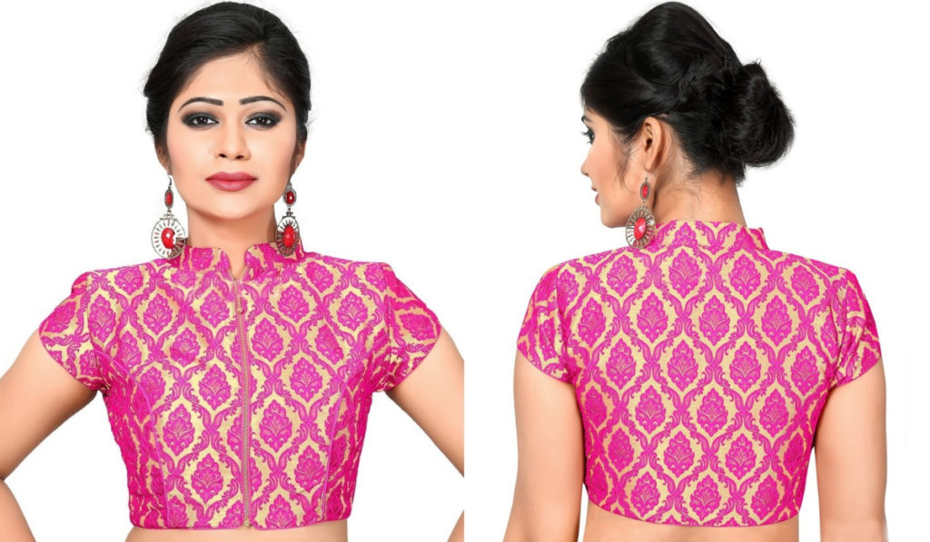 Traditional printed front zip blouse