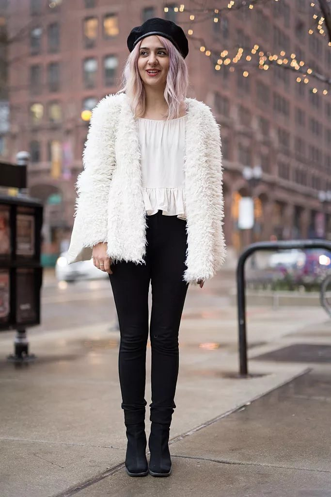 White faux fur with skinny black jeans