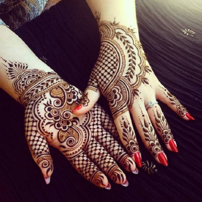Henna design with net and paisley patterns