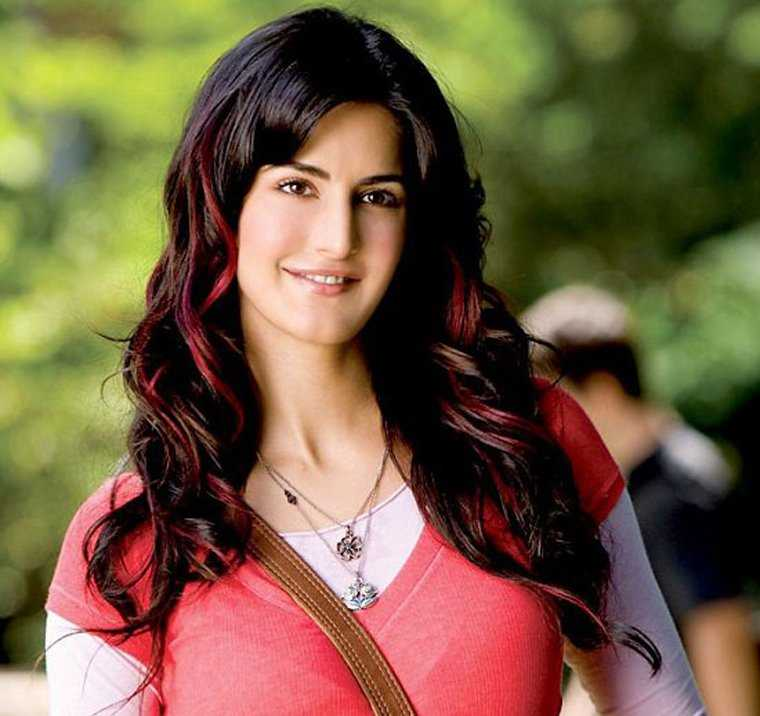 Katrina Kaif in Red Streaks Hairstyle