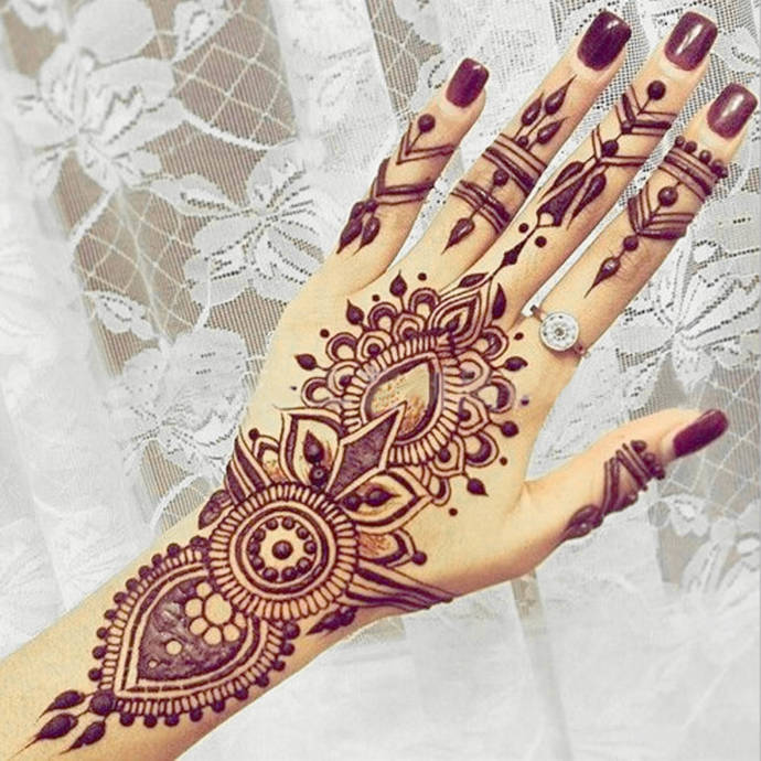 stylish back hand henna design for girls