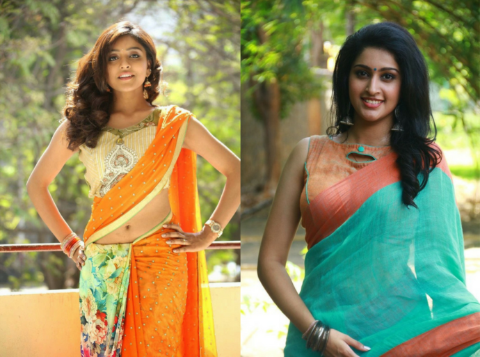Blouses with printed and plane sari