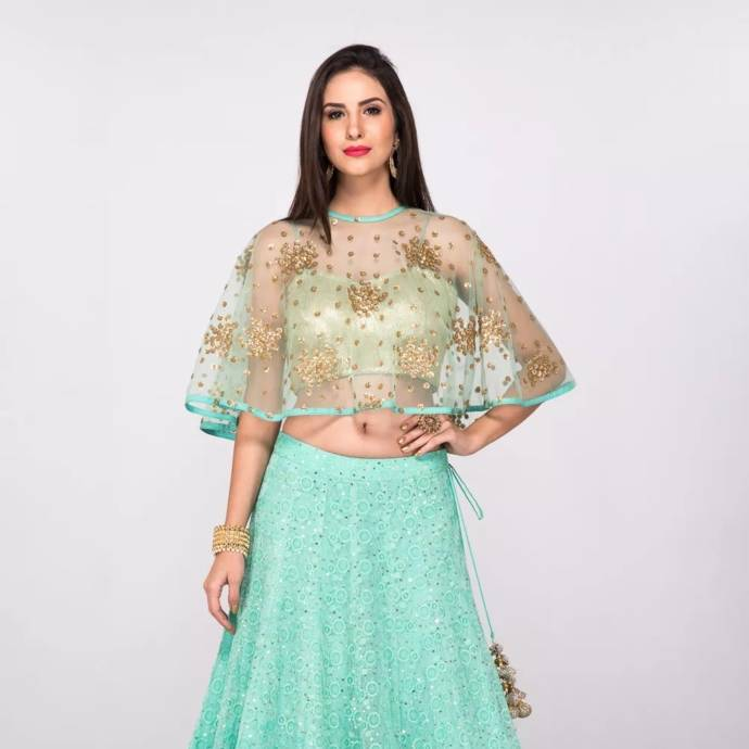 Cape style net top for lehenga