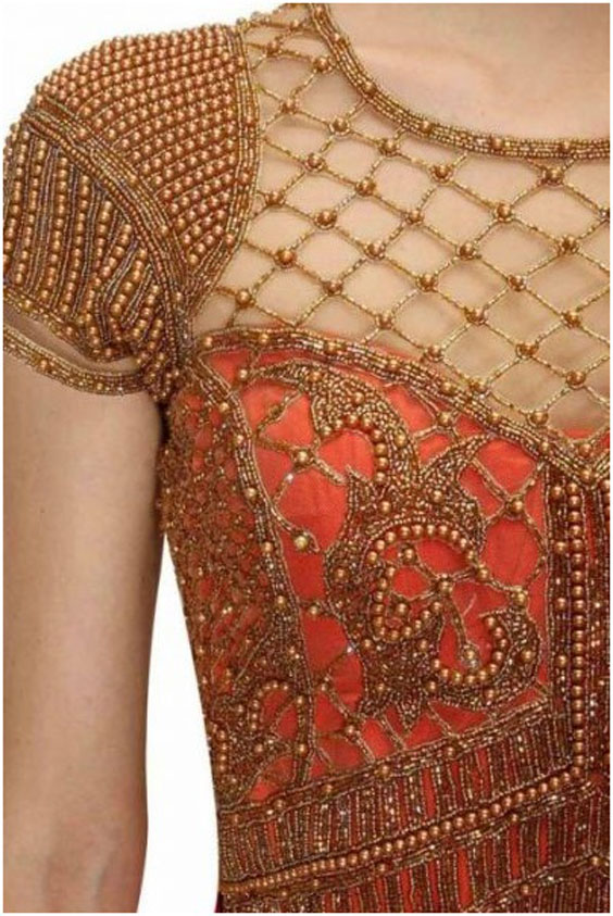 Corset style blouse with Heavy Maggam Design