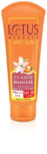 Lotus Herbals Safe Sun UV Screen Matte Gel, SPF 50, 100g