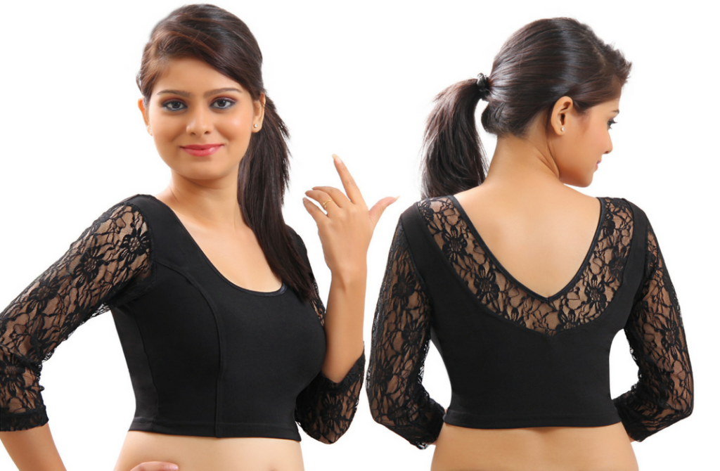 Net sleeved V neckline blouse