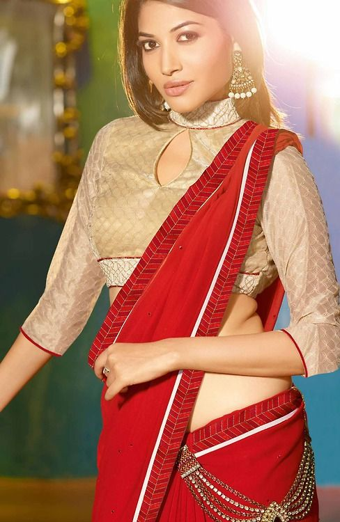 Stand Collar Neck Designs For Blouse : Collar neck blouse designs for sarees lehenga