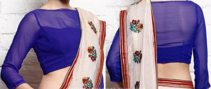 Royal blue blouses with net sleeves