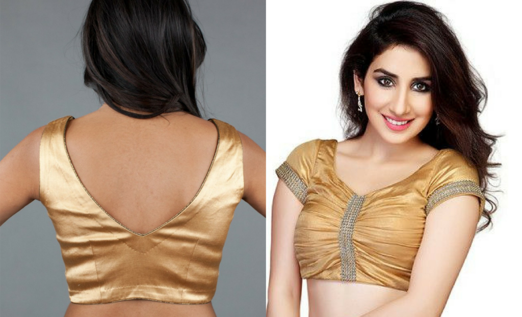 V neckline blouse in golden color