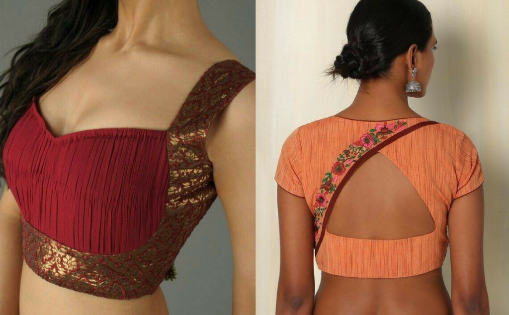 V neckline blouse with golden thread work