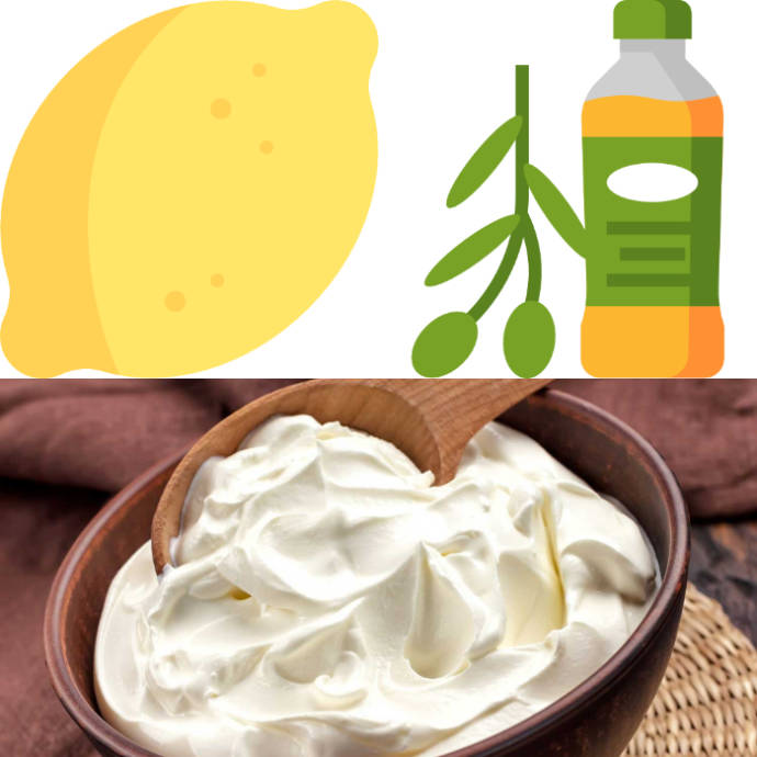 Yogurt paste with lemon and olive oil