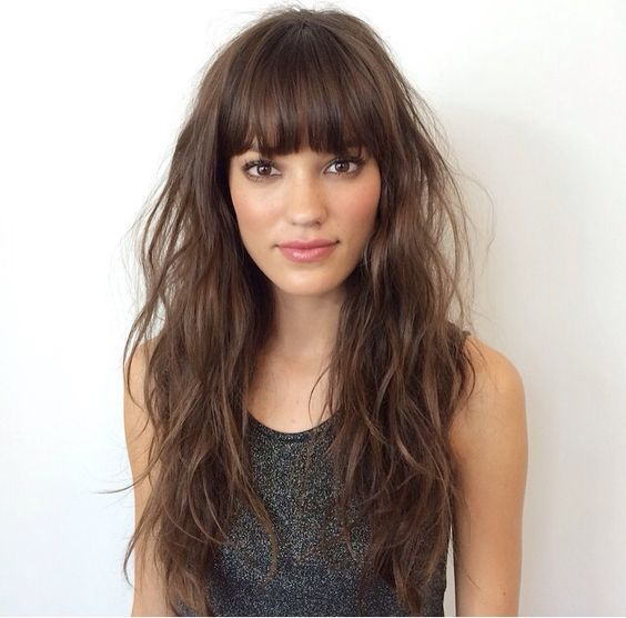 Feather Cut Hairstyle With Sectioned Bangs