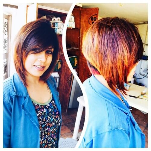Short feather haircut bob