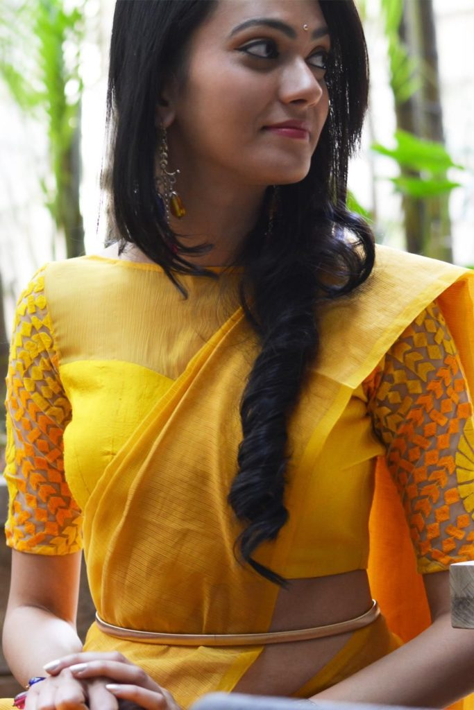 Yellow boat neck blouse with thread work