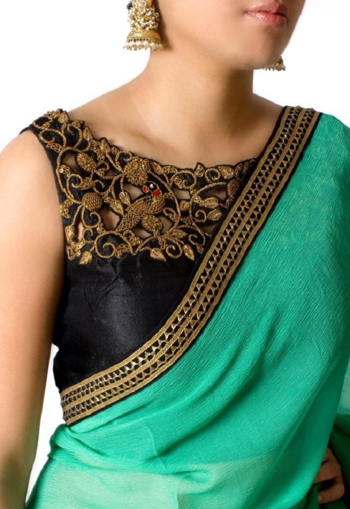 Maggam work blouse with silver thread